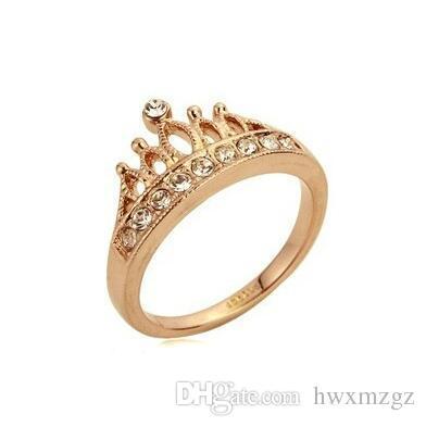 Europa banhado a ouro 18K moda retro Flash clássico de diamante da coroa Cubic Zirconia Anel