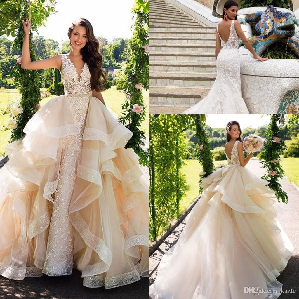 Detachable Trains For Wedding Gowns: Milla Nova Detachable Train Mermaid Wedding Dresses Modest
