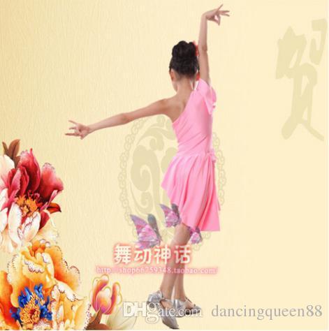 Latin Ballroom Dancing Robes Violet / Rouge / Rose Dress Pour Danser Pour Les Filles XS-XXXS Danse Robe Tango Robe De Franja Livraison Gratuite