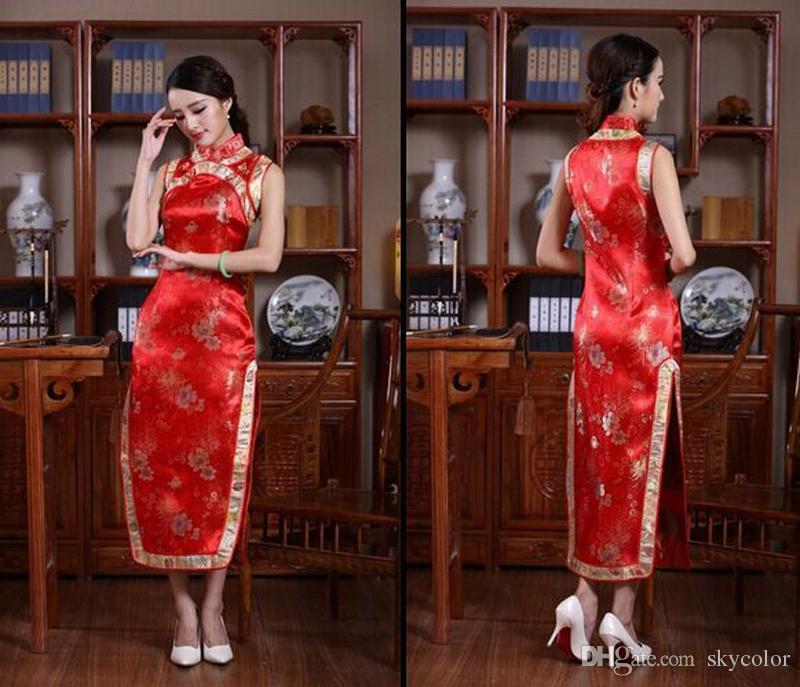 BLACK RED Blue Chinese Silk Satin Women's Dress Long Cheongsam Qipao Coat Skirt evening dress Bridal gown size S-3XL