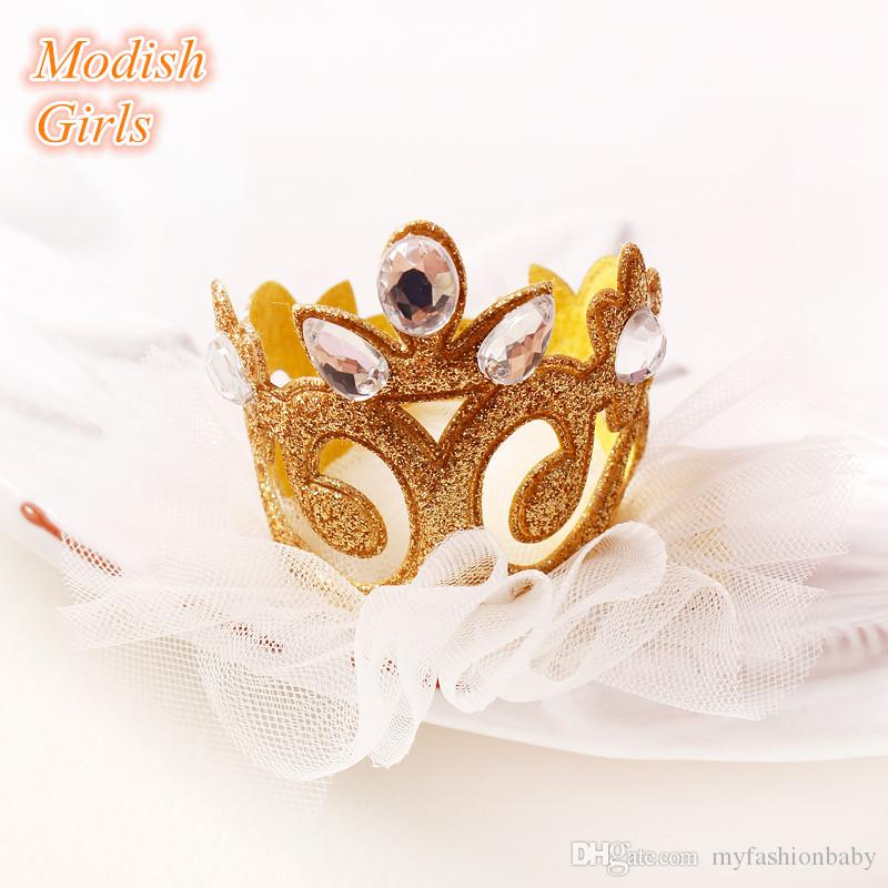 Top Quality Baby Girls Felt Barrettes Tiara Side Hair Clip Princess Crown with Glitter Tulle Gold Silver Hair Clip