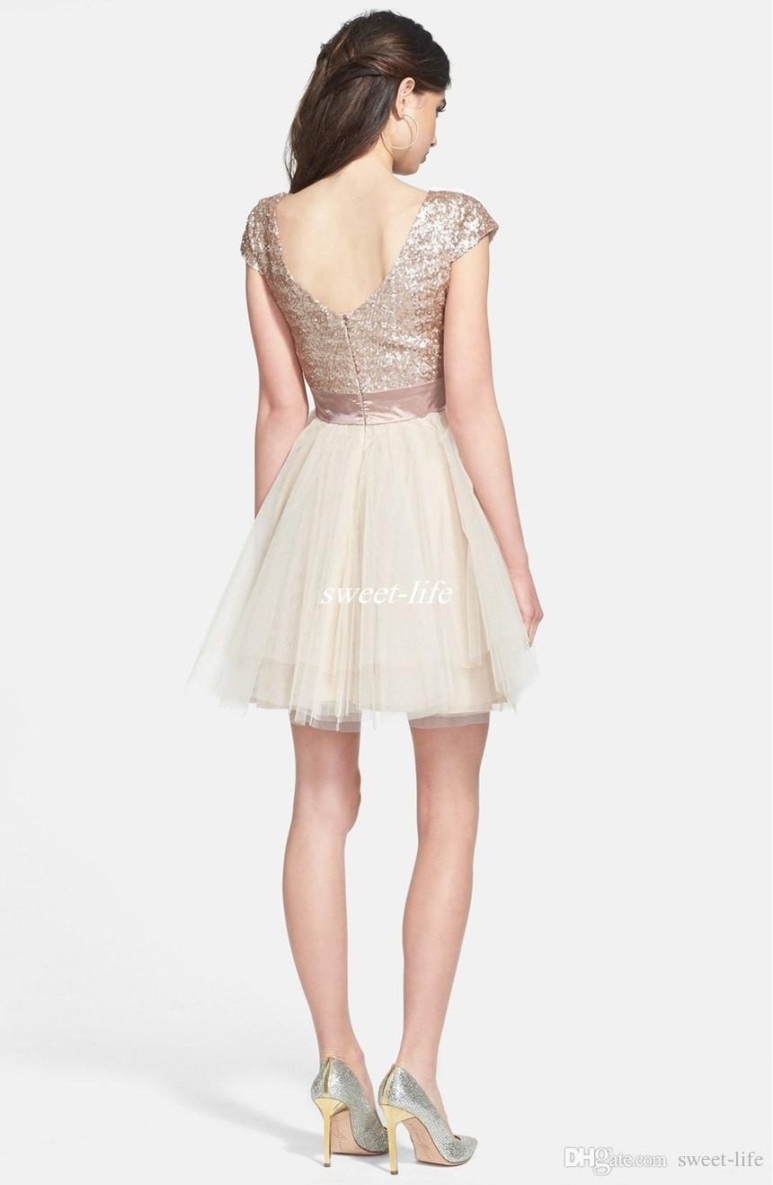 Robes courtes Homecoming pas cher 2019 en or rose Paillettes Tulle Sweet 16 Juniors Party robe de bal Robes semi formelle Plus Size Tutu Jupe