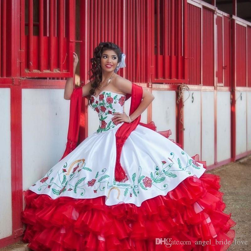 2017 Seksi Kırmızı Beyaz Saten Abiye Nakış Quinceanera Modelleri ile Boncuk Sweet 16 Elbiseler 15 Yıl Balo Abiye QS1003