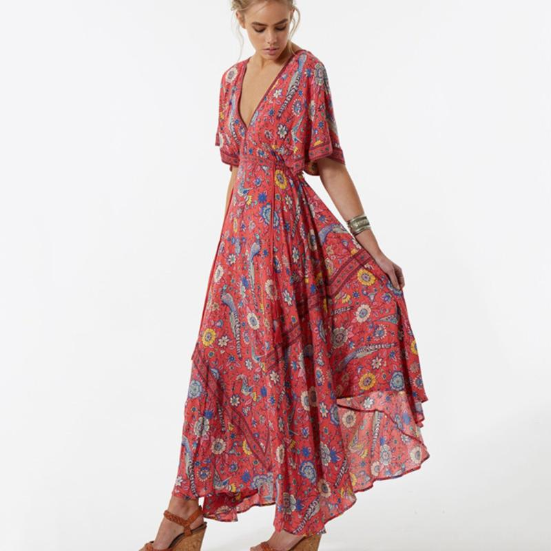 1cc3467fcd2d8 Wholesale- 2017 Vestido Long Flower Dress Retro Bohemian Maxi Dress Sexy  Ethnic Deep V-neck Floral Print Beach Dresses Boho Hippie Robe