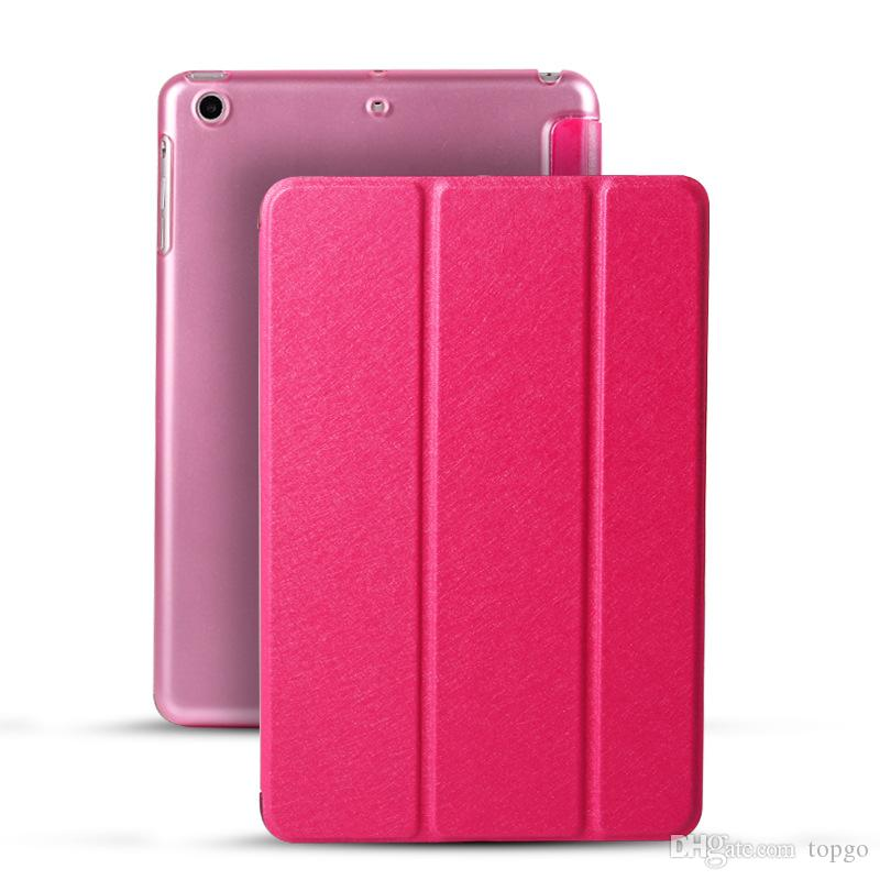 Silk Pattern Front Smart Case with Hard PC Cover Folding Holder PU Intelligent Cases Leather Magnetic Shell for iPad Mini 2 3 4