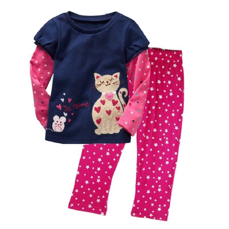 8faa5b611 Compre Atacado Mais Barato Roupas Infantis Conjuntos Outono Primavera Bebê  Meninas Roupas Terno Polka Dot Gatos Muilti Cores 90 130 Cm Kid Outfit De  ...