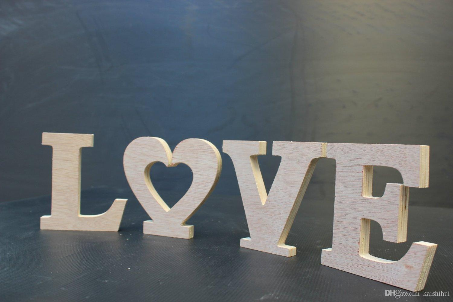 Letters Decoration Home U0026 Garden   Wooden Plaque Words, Letters Free  Standing LOVE Home, Wedding Decoration 10cm Height Wood Color Freestanding  Table ...
