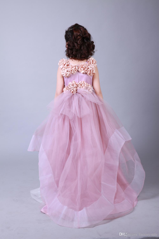 Pembe Tül Balo Çiçek Kız 'El Yapımı Ile Elbiseler Çocuk Doğum Günü Partisi Için Düğün communion elbiseler Küçük Kızlar MC0203 Giymek
