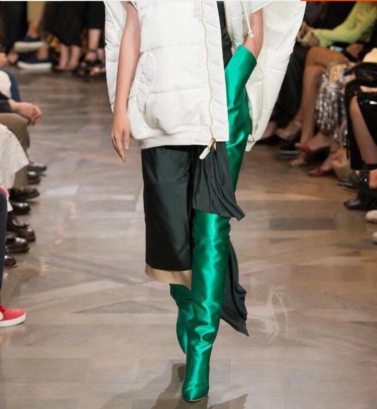 NOUVELLE Femme Extrême Longue Taille Haute Bottes Fluorescence Couleur Stretch Satin Talons Hauts Bout Pointu Étape Long Botas Chaussures