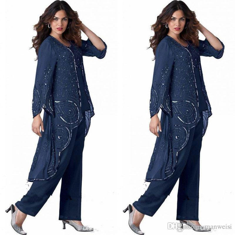 d77641df759 Navy Blue Mother Of Bride Pant Suits For Weddings Beaded Plus Size Groom  Dress With Jacket Special Occasion Mothers Outfit Garment Police Officer  Mom The ...