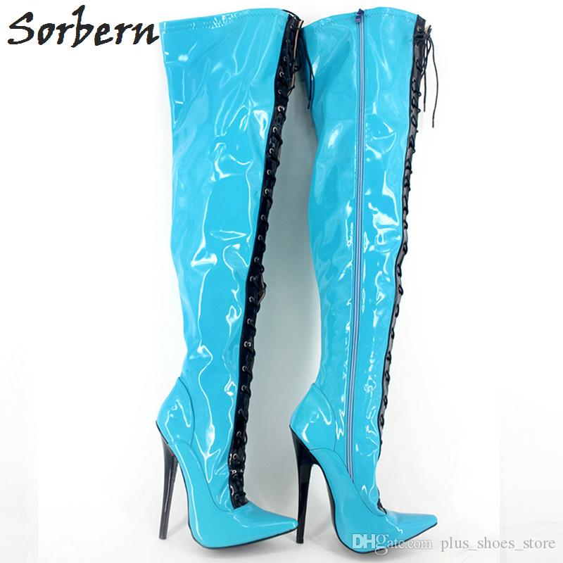 Mix Color High Thin Heel Boots 18cm Sexy Over-the-knee Long Boots Fashion Solid Zipper Ladies Stiletto Leather Pointed Toe Fetish Shoes
