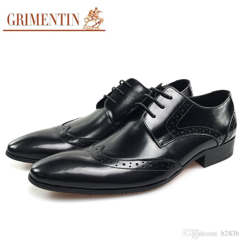 b5613eda376 Compre GRIMENTIN 2018 Nueva Moda Italiana Formal Oxfords Para Hombre Zapatos  De Vestir De Cuero Genuino Negro Hombres Negocios Zapatos Brogue Hombres ...
