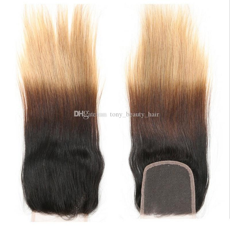Honey Blonde Ombre Brazilian Hair With Closure Three Tone 1B/4/27 Silk Straight Ombre Hair 4 Bundles With Lace Closure