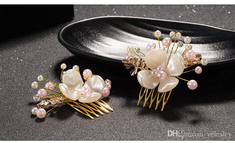 Bridal Wedding Tiaras Stunning Fine Comb Bridal Jewelry Accessories Crystal Pearl Hair Brush utterfly hairpin for bride