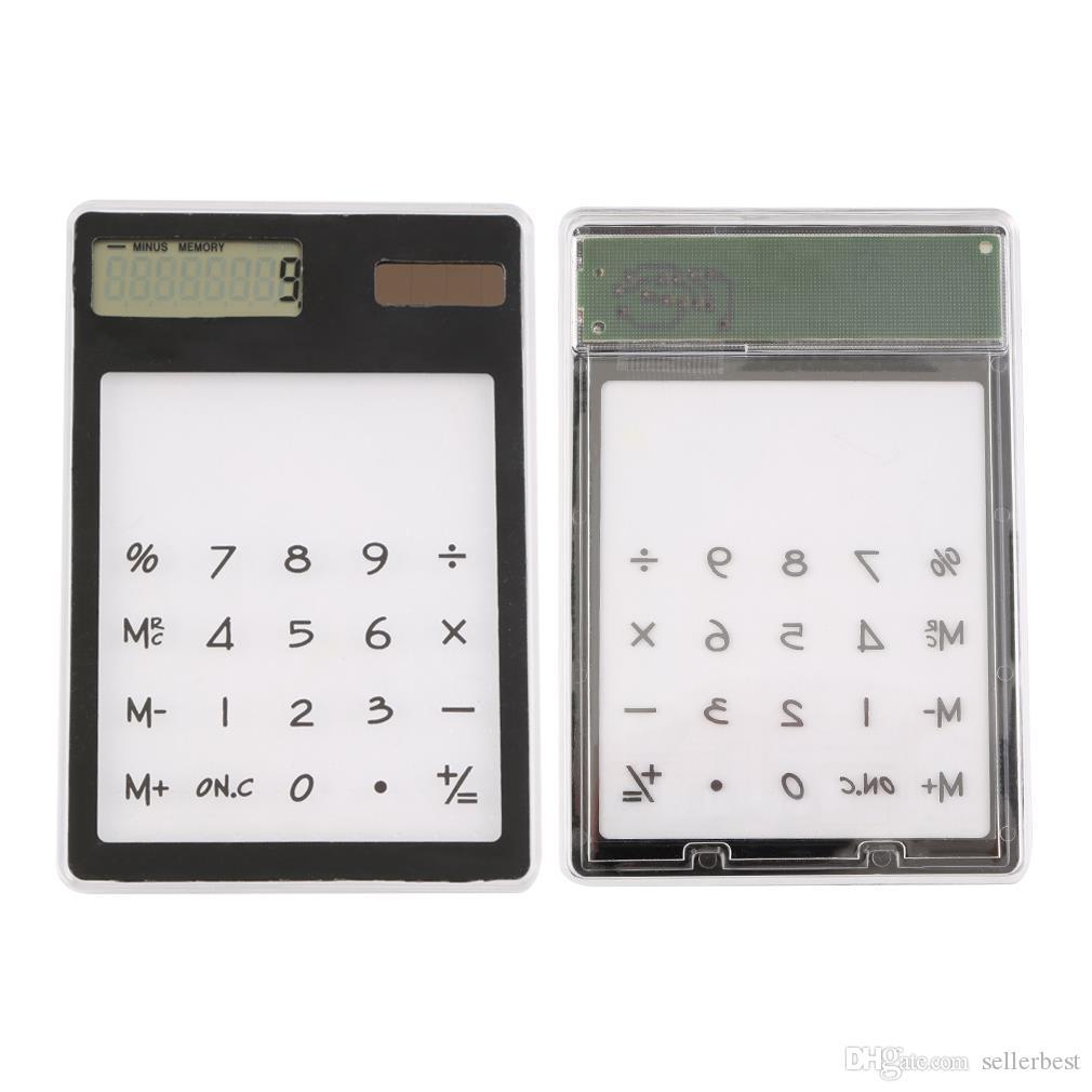 Creative Gifts Mini Calculator Ultra Slim Solar Power Touch Screen LCD 8 Digit Credit Card Electronic Transparent Calculator