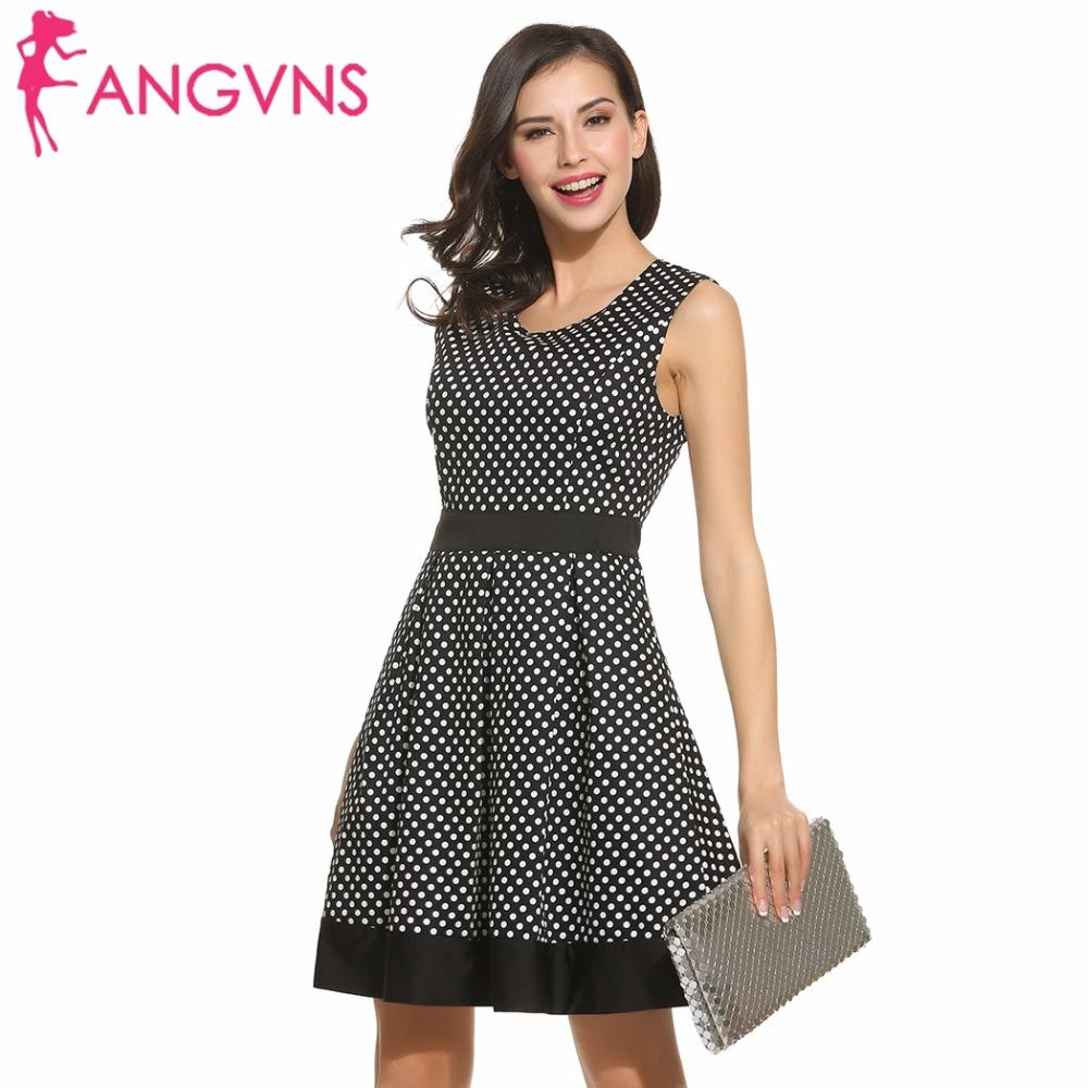 6bb132ae829852 Großhandel Großhandels ANGVNS Dot Vintage Kleid Dame Sommer Retro 50er  Jahre 60er Jahre Big Swing Frauen Tunika Short Fit Und Flare Arbeit Kleid  Vestidos De ...
