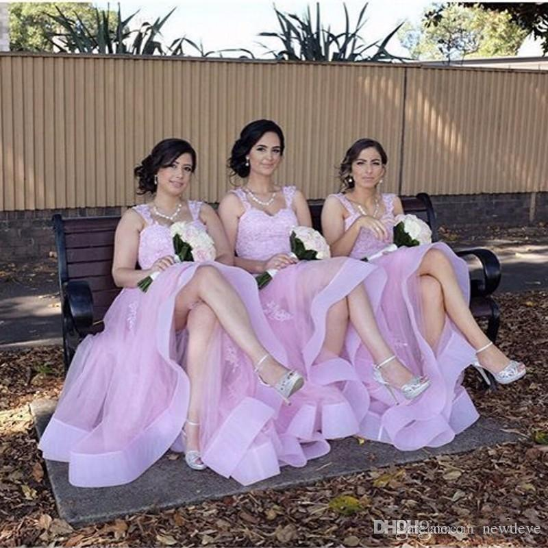 Baby Pink Bridesmaid Dresses Cheap Soft Tulle Long Maid Of Honor ...