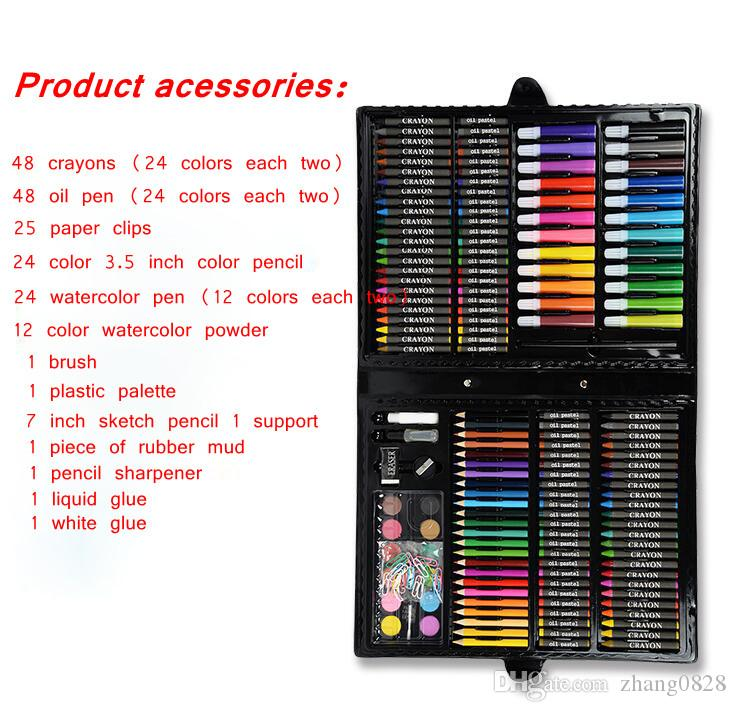 / sets of Children's Painting Stationery Set Watercolor Pen Gift Box art Brush Supplies Retail Wholesale DHL or SF Express