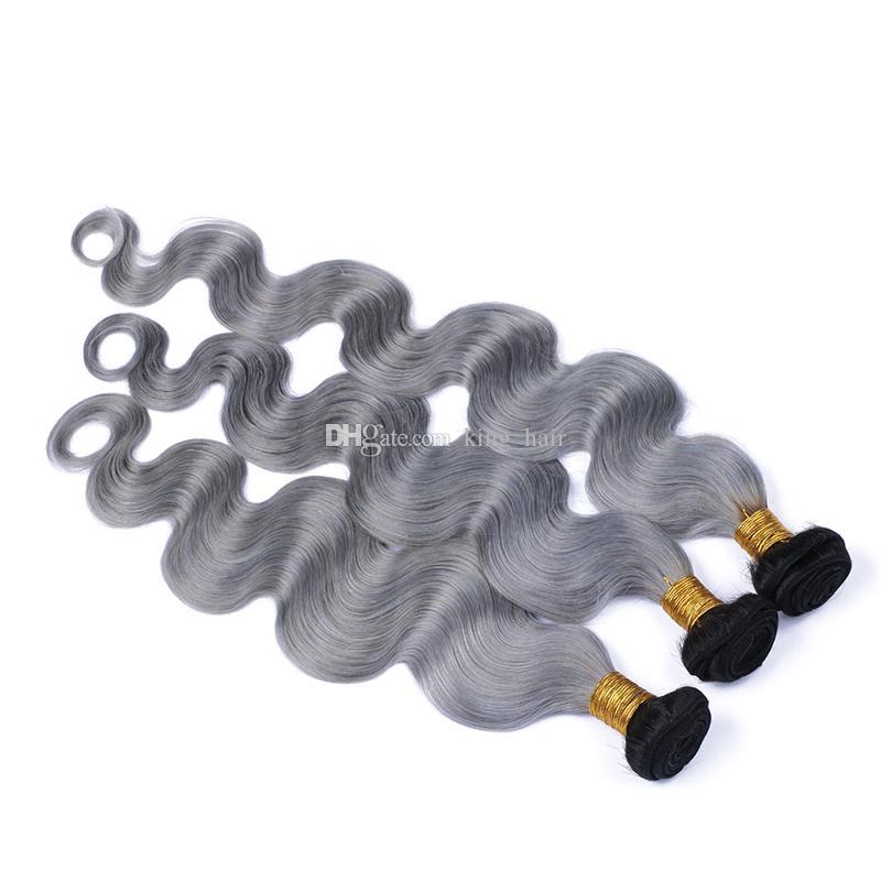 Ombre Argento Grigio Estensioni dei capelli umani Due toni 1B / Grigio Radice scura Ombre Tessuto peruviano Onda Ondulata Tessuto 3 Bundles lotto