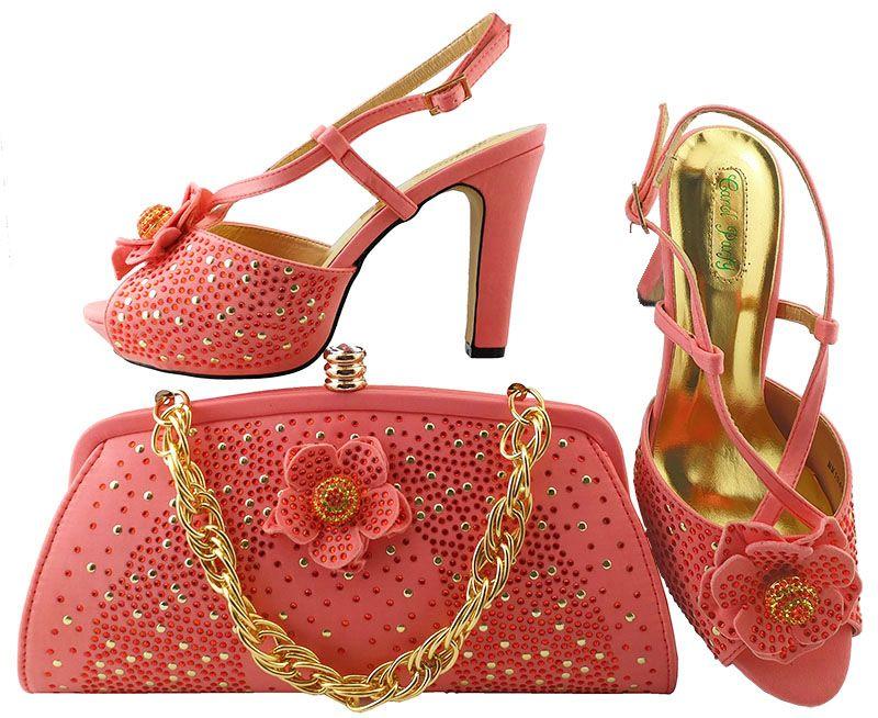 Mais populares sapatos de limão verde coincidir com a série de bolsas com strass flor decoração sapatos africanos e conjunto de bolsa para o vestido MM1040, calcanhar 11 CM
