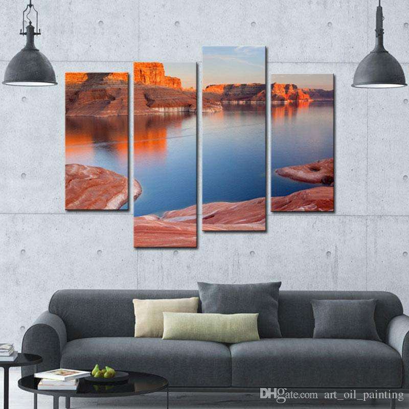 Modern Canvas Painting For Home Lake And Canyon At The Grand Canyon Landscape Canyon Print On Canvas Giclee Artwork