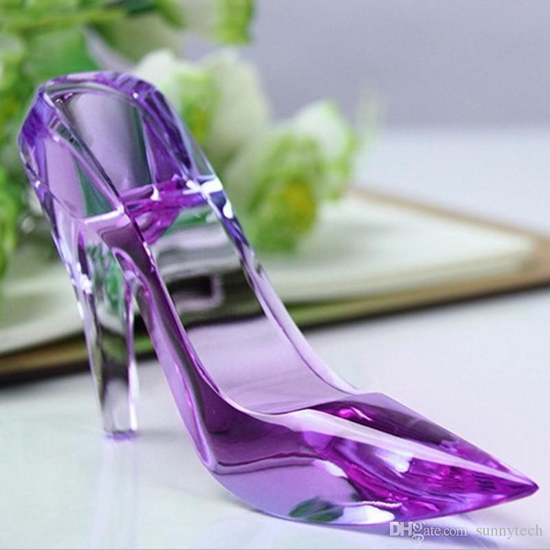 High Heel Schuhe Kristall Miniatur Modell DIY Glas Briefbeschwerer Handwerk Romantische Geschenk Haus Ornamente Dekoration Zubehör LZ0314