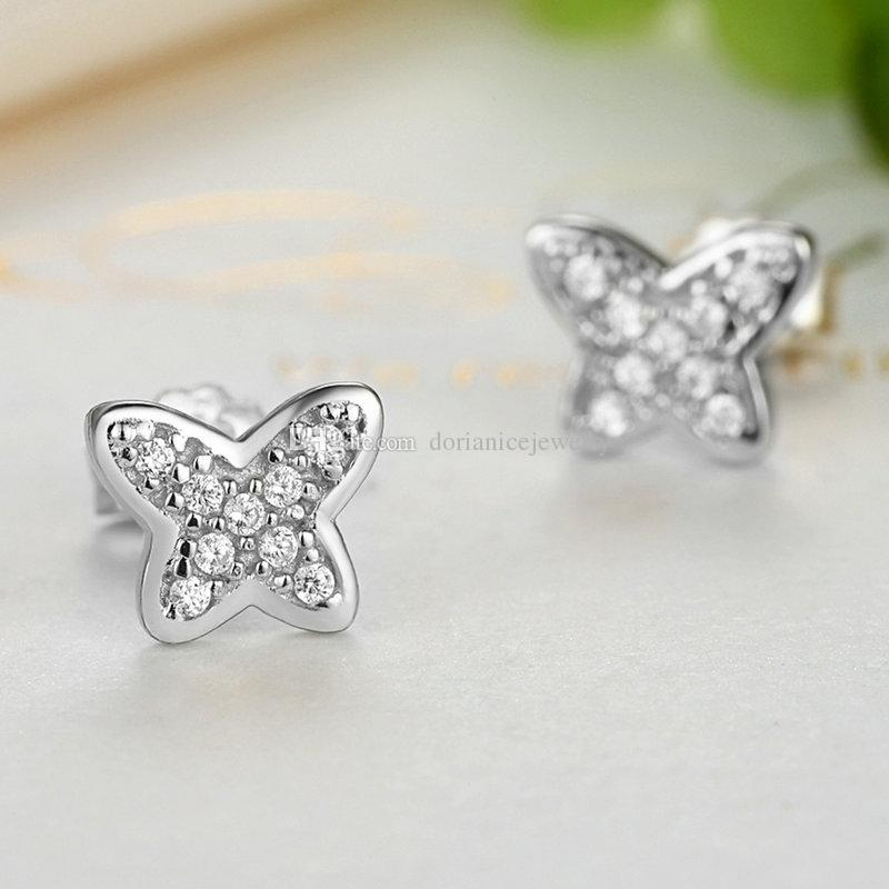 Genuine 925 Sterling Silver Petite Butterfly Stud Earrings with Clear CZ Push-back Party Earrings ER055