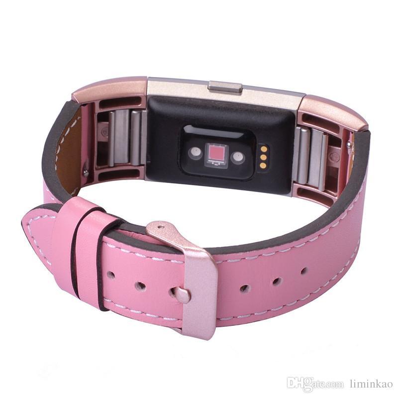 Fitbit 충전 2 용 고급 정품 가죽 시계 밴드 Fitbit 충전 용 팔찌 교체 스트랩 2 금속 버클 재고 있음