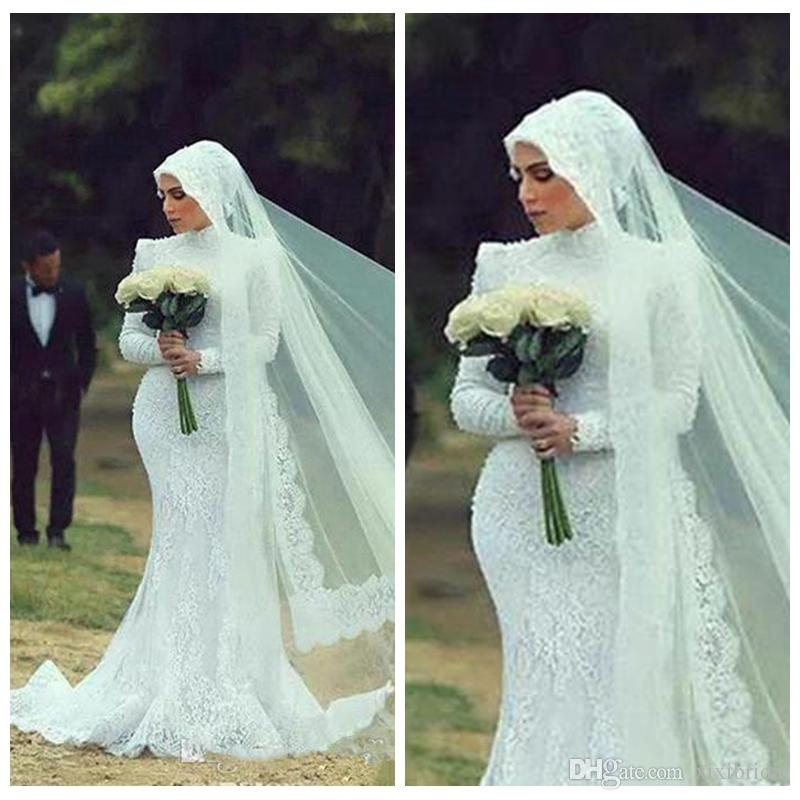 2018 Vintage Wedding Dresses Muslim Long Sleeves Mermaid Lace ...