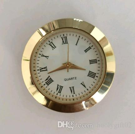 30mm insert clock good quality small Mini gold case white Roman clock insert chinese movement for craft products