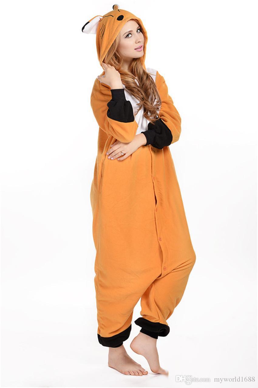 Vente chaude Pas Cher Brown Fox Anime Pyjamas Cosplay Costume Adulte Robe Vêtements De Nuit Halloween S M L XL