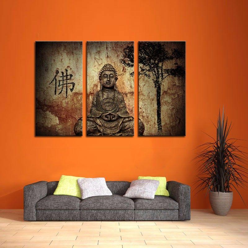 Compre Lk367 3 Panel De Religión Arte Buda En Gruta Cuadros De La ...