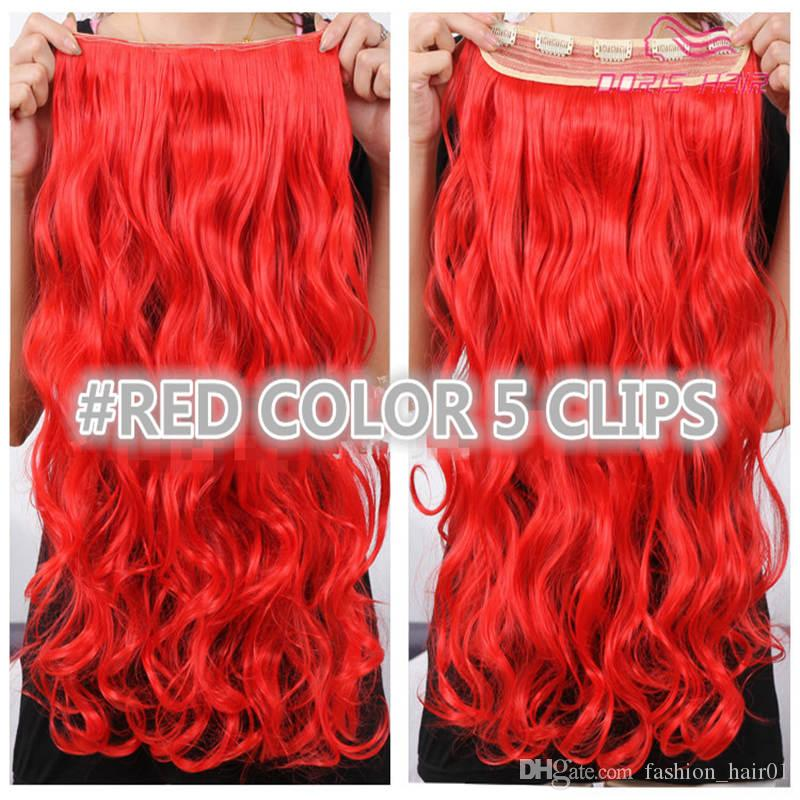 Best Sales Clip in hair extension 5clips one pieces 130g full head body wave red brown blond in stock synthetic hair