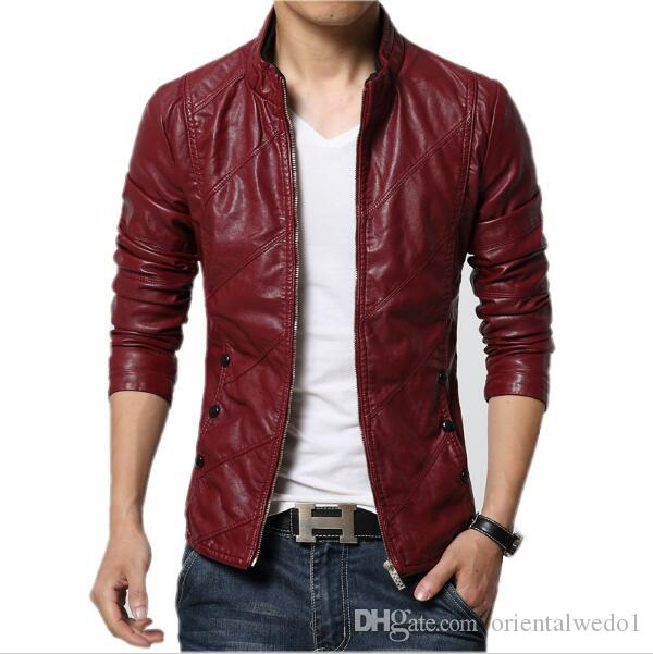 Fashion Pu Leather Jacket Men Black Red Brown Solid Mens Faux Fur ...