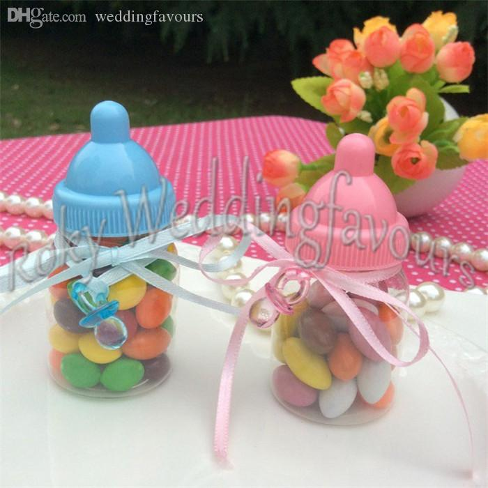 Mix Pink/Blue Baby Bottle Candy Boxes Baby Feeding Bottle Wedding Favors and Gifts Box Baby Shower Baptism Decoration