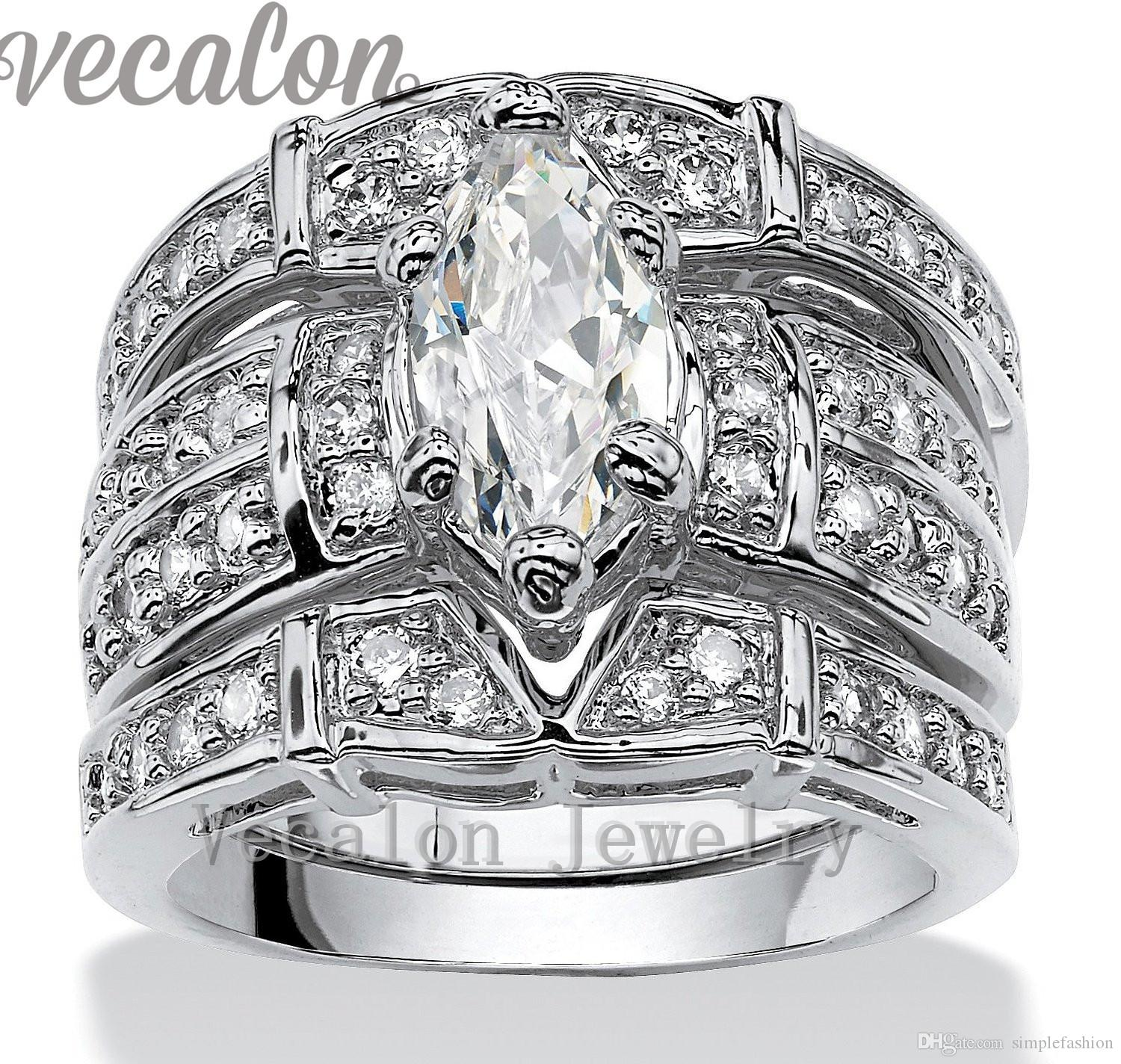 Vecalon Vintage Engagement Wedding band Ring Set for Women Marquise Cut 3ct Cz Diamond 14KT White Gold Filled Party Finger ring