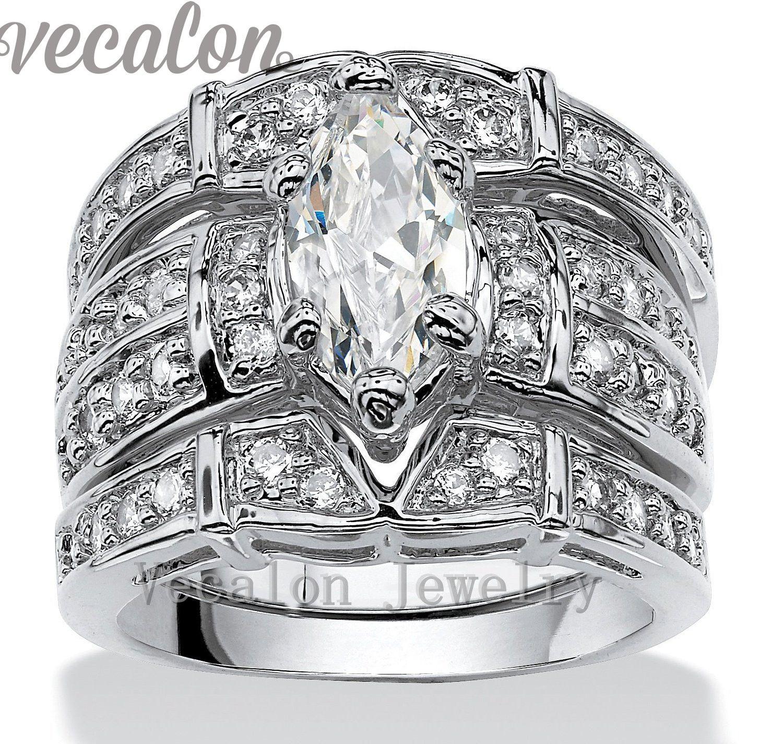 2017 vecalon vintage engagement wedding band ring set for women