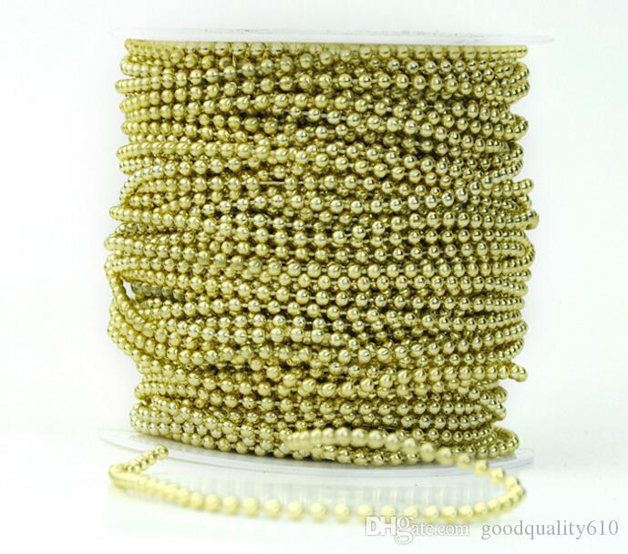 1 lotto 50meter 3mm Perle tonde placcato argento / oro Ghirlanda catena Trim capelli Stying Wedding Home Decoration Craft