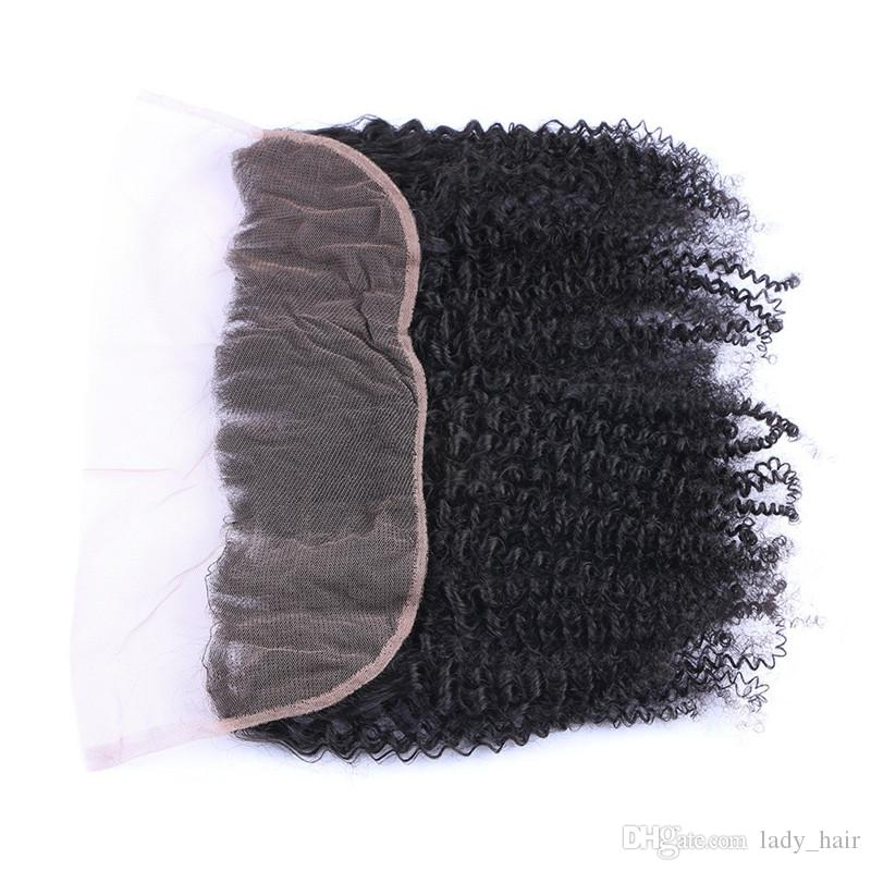 8A Jungfrau brasilianische Afro verworrene lockige 13X4 Spitze Frontal Schließung Gebleichte Knoten brasilianische verworrene lockige Ohr zu Ohr volle Spitze Fontal Pieces