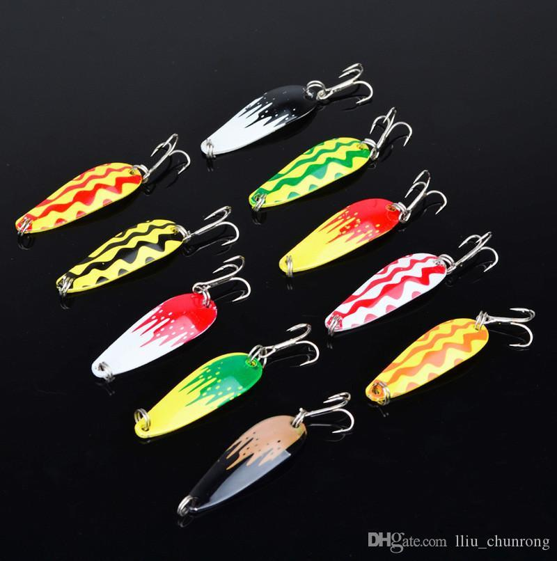 10-color 5cm 6g Spoons Fishing Hooks 8# Hook Metal Baits & Lures Artificial Bait Pesca Fishing Tackle Accessories