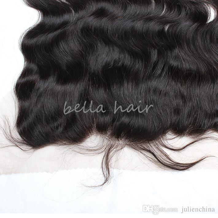 Bellahair Products Peruvian Body Wave 4 * 13 Frontale Ear-Ear Lace Chiusura del pizzo Estensioni dei capelli umani Colore naturale