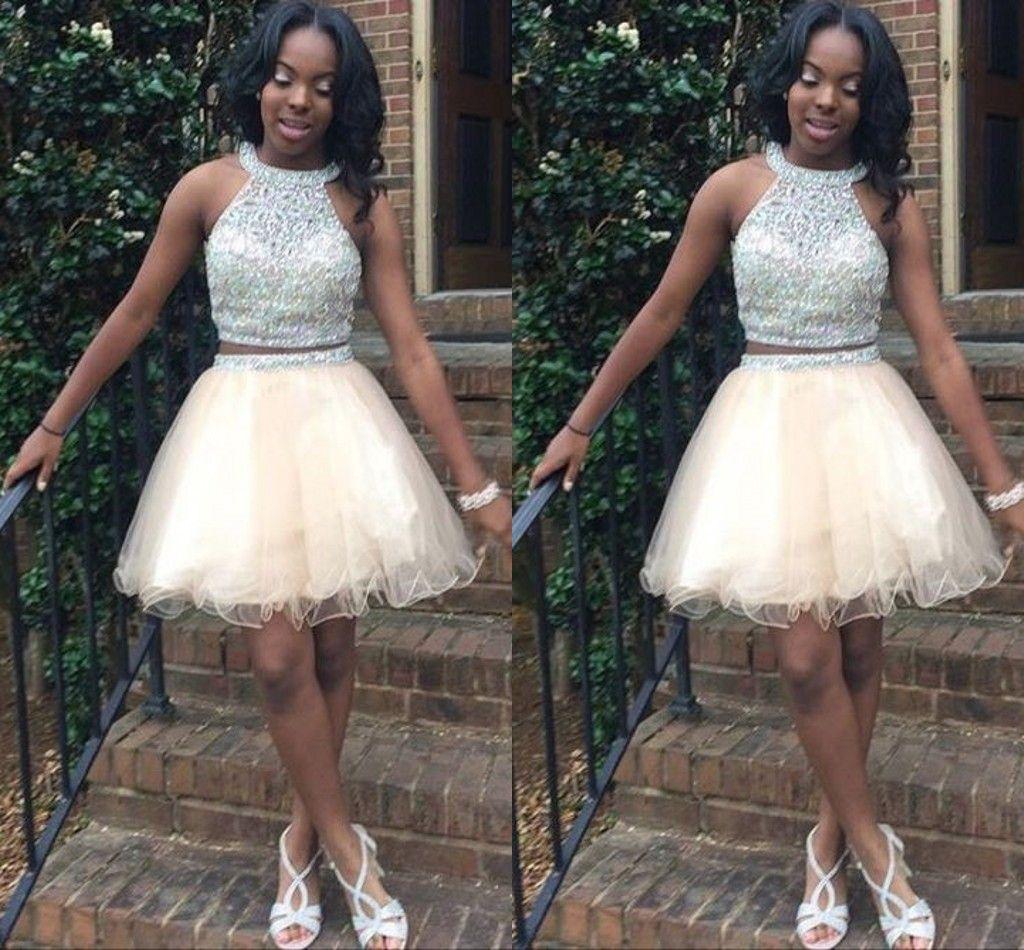 Light Champagne Short Homecoming Dresses Jewel Halter Crystal ...
