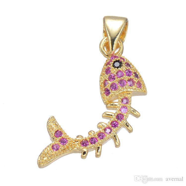 Phone Rope Charms Color CZ Micro Pave Copper Pendant Fish Bone Plated More Colors For Choice 11x22mm Hole:About 3.5mm