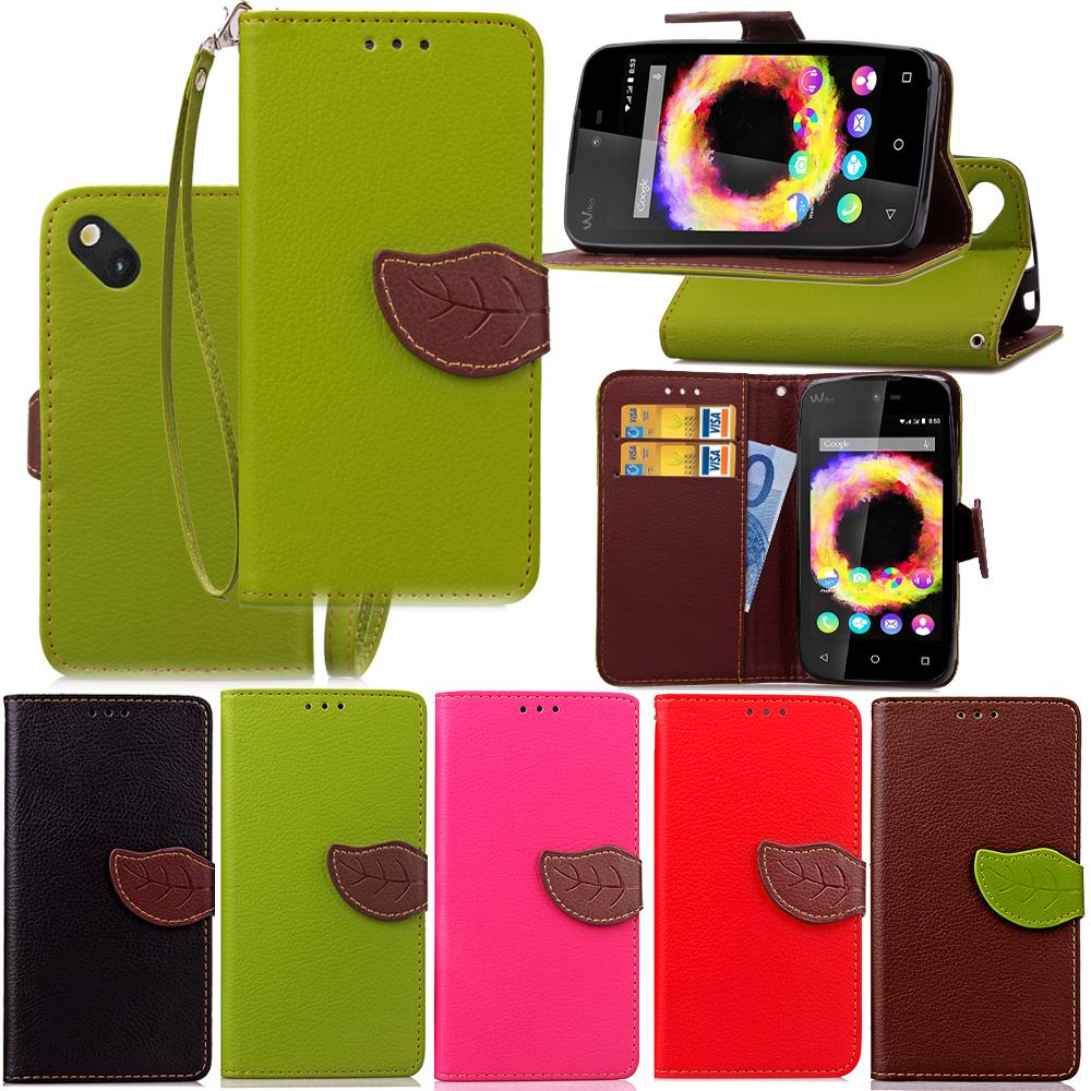 For Lg K4 Wiko Lenny 3 Sunset 2 Leaf Wallet Card Leather Case Hybrid Skin Stand Holder Tpu Cover Cases Custom Cell Phone Cute