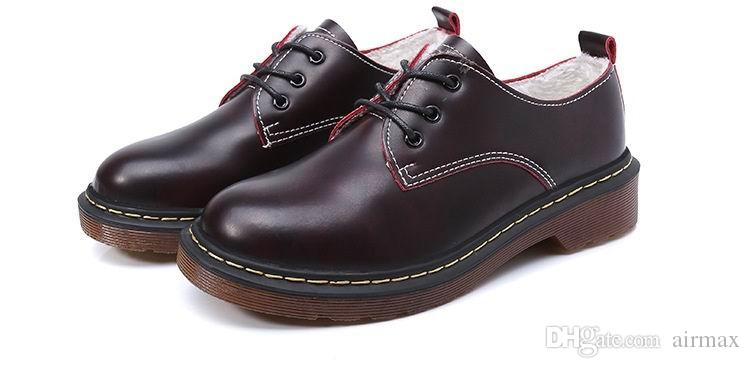 Winter New Arrival Fashion Women Brown Oxford Shoes Trend Lace Up Woman Leather Shoes Warm Leisure Martin Shoes Plus Size 42 43 lady