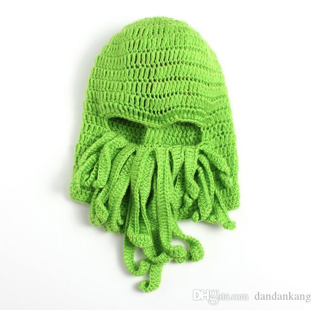 Unisex pulpo calamar Beanie Caps hombres tentáculo de punto de lana de esquí de la mascarilla sombreros del monstruo de mar de ganchillo Beanie Cthulhu pulpo Caps máscara de Halloween