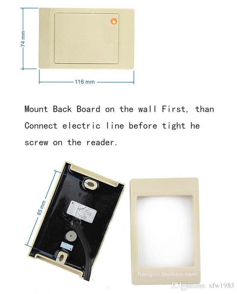Envío gratis estándar impermeable Color blanco Predeterminado 125 KHz EM RFID Reader WG26 / 34 Llave de la tarjeta fob Reader Sistema de control de acceso