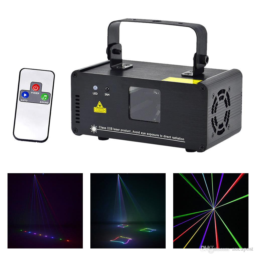 AUCD IR Remote DMX 512 Mini 400mW RGB Full Color Laser Stage Lighting Scanner DJ Dance Party Show Projector Lights DM-RGB400