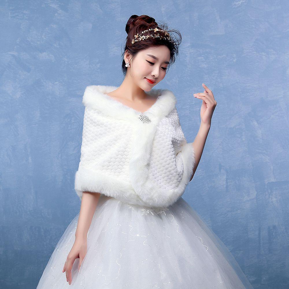 Atacado Pur Shawl para Nupcial Real Pictures Branco do Falso Manto para o Casamento de Inverno 2018 Novo Design Jacket