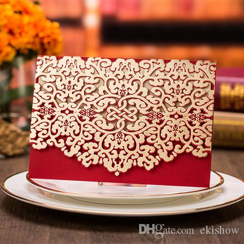 Wedding Invitation 2017 Custom Printing Patter Red Sample